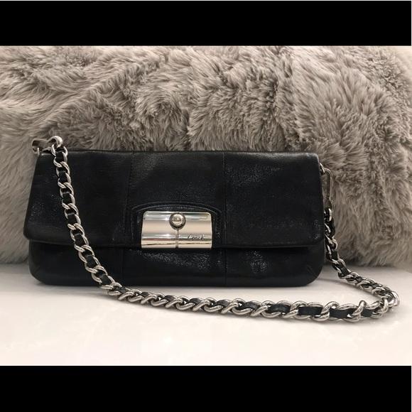 Coach Handbags - COACH - Black Leather Clutch w/ Removable Chain